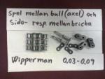 De flesta övriga kedjor (om inte alla övriga) har tunna dubbla sidbrickor mellan kedjeraderna, och där har istället Tsubaki tjockare brickor. Trots detta är stansningen av Tsubakis hål helt magiskt perfekta. Som ni ser i bild så slår glappet på Wipperman mellan ca 0,03 – 0,09 alltså upp till nästan en tiondels mm, medan…