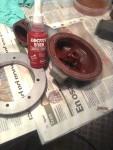 Fan, va jagär nöjd med Glyptal-färgen. Men den är attans svår att måla med. Funderar på om jag ska spruta den i Tråget. (väntar mejl från Glyptal om goda råd)  Ringen i bild är slutmonterad med flänstätning 5188.