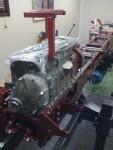 Första cylinderblocket monterat och draget. Tätning sker med Loctite Motorsilikon 5910.